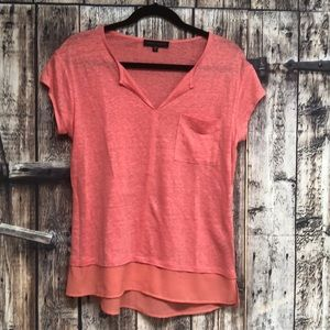 Sanctuary Sm coral tiered linen pocket tee